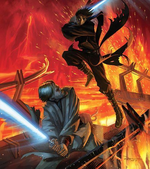 Duel On Mustafar Star Wars Star Wars Art Star Wars Artwork