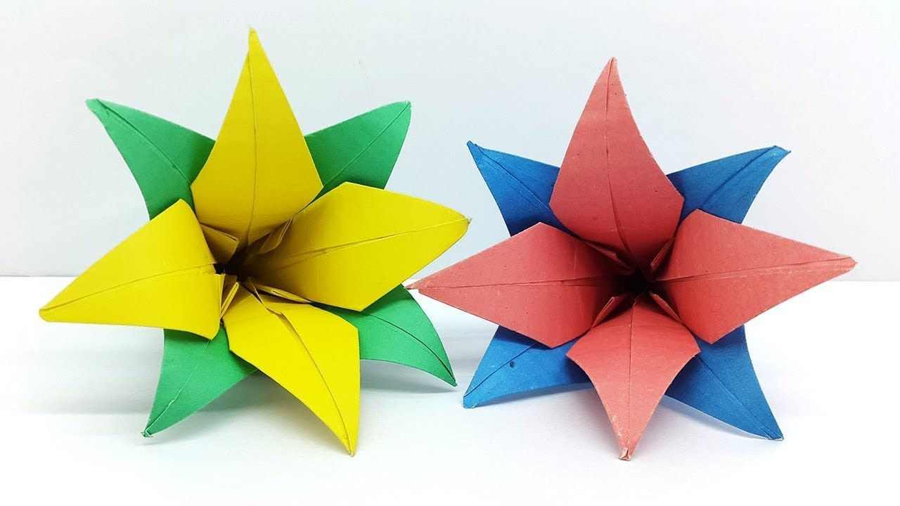 How To Make Paper Flowers Origami Flower Tutorial Colors Paper