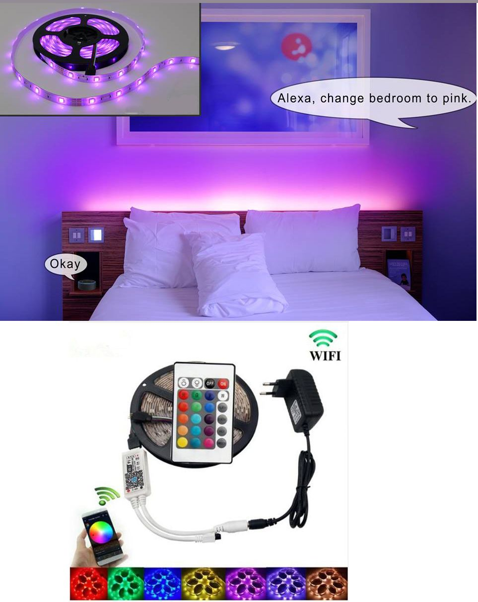 Wifi Smart Waterproof Led Strip Light Smart Phone Controlled Works With Android And Ios Ifttt Google Assistant And Alexa 16 4ft Rgb Color Changing For Bedroom Led Strip Lighting Strip Lighting Waterproof Led