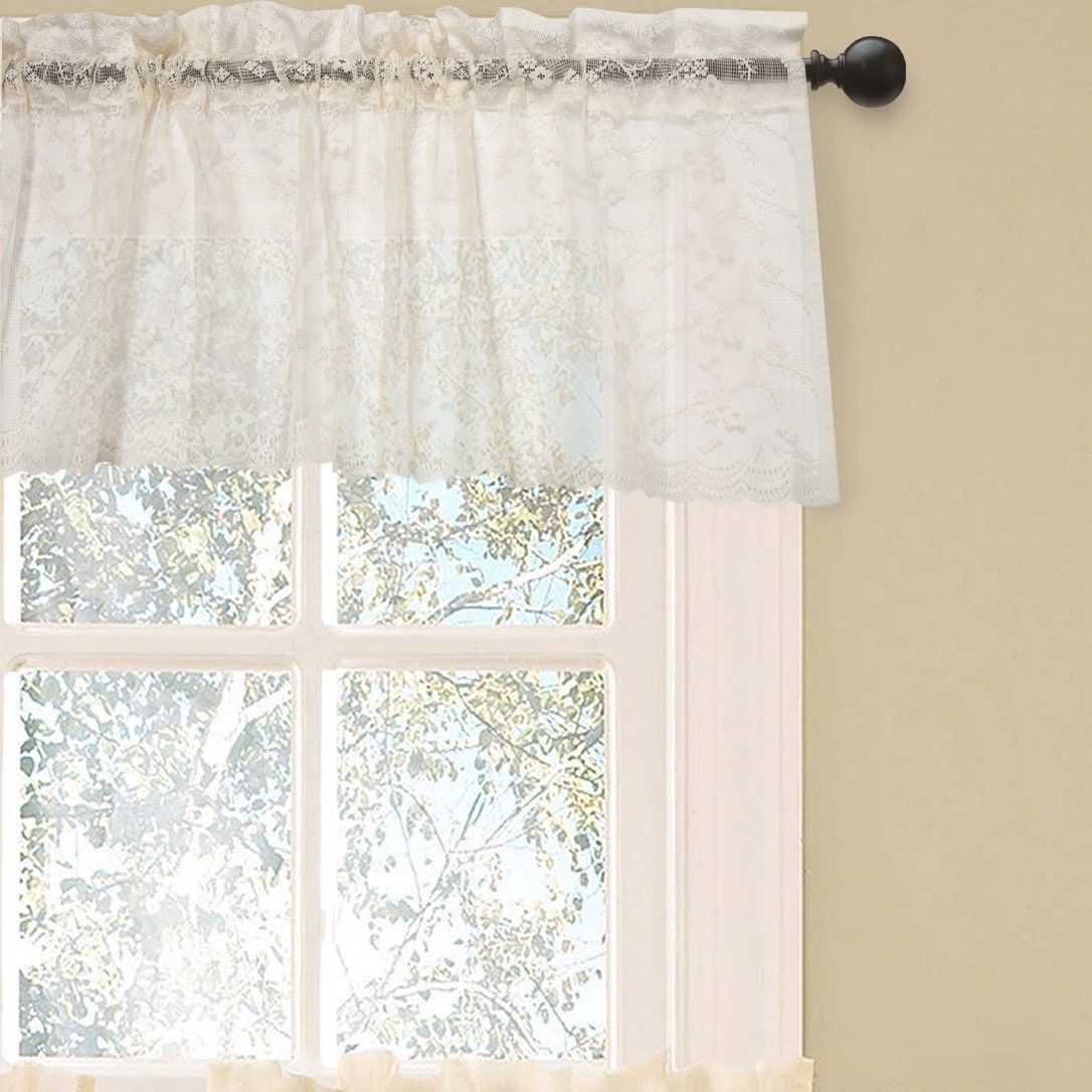 Elegant ivory priscilla lace kitchen curtain pieces tier swag and