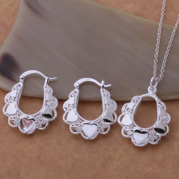 AS349 Hot 925 sterling silver Jewelry Set Orecchini Collana 547 + 089/antajfaa augajlna