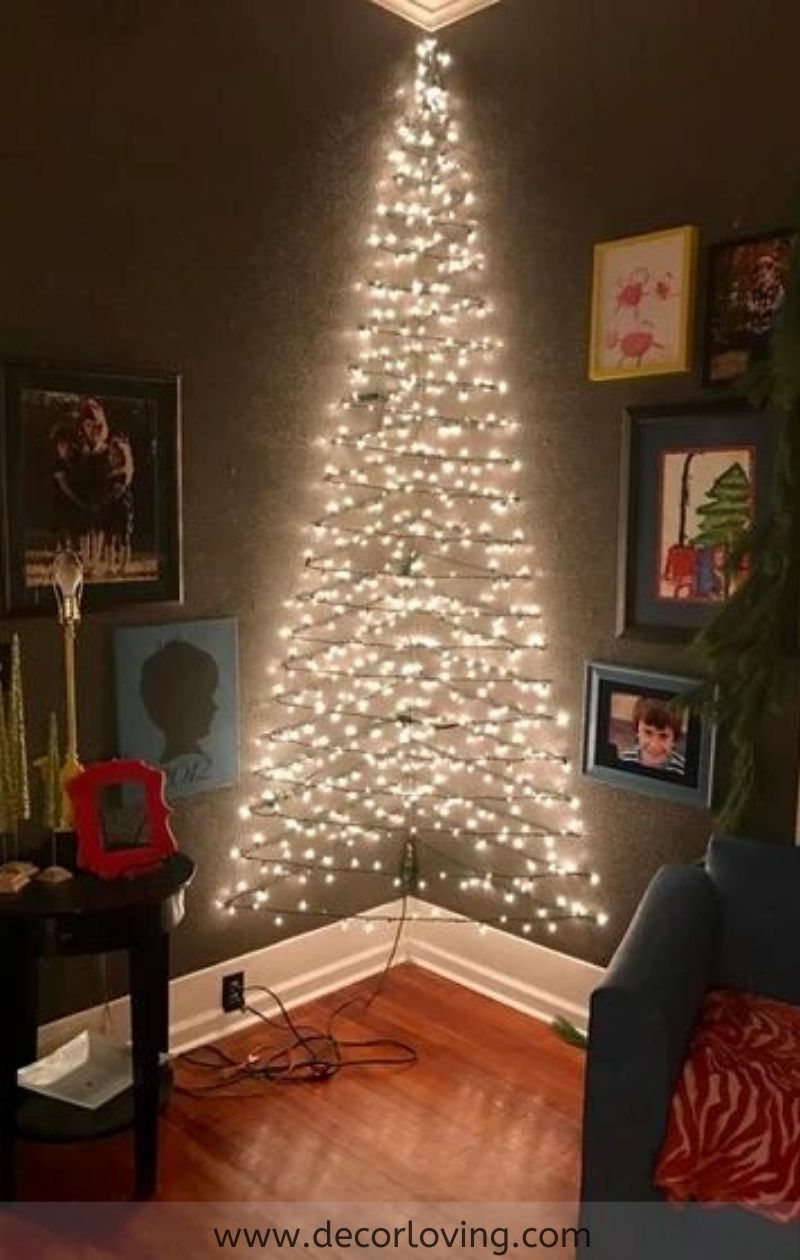 Affordable Wall Christmas Tree Decor Ideas For Living Room Decor Christmas Apartment Christmas Wall Decor Christmas Wall Decor Diy