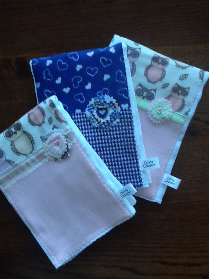 SOLD. Set of three burp cloths in soft flannel and cotton in owls and purple hearts motif. See more adorable designs at Olivialawsondesigns.etsy.com.
