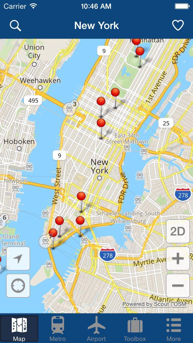Iphone Map Of New York Offline.Iphone App New York Offline Map City Metro Airport With Travel