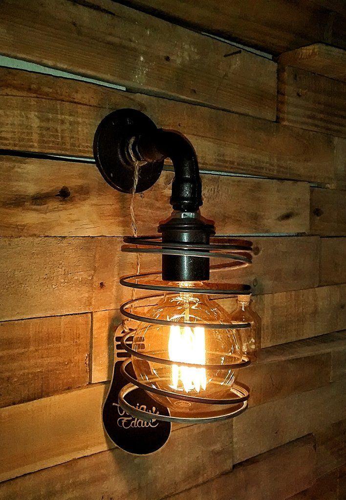Aplique pared hierro estilo industrial foco vintage en - Iluminacion estilo industrial ...