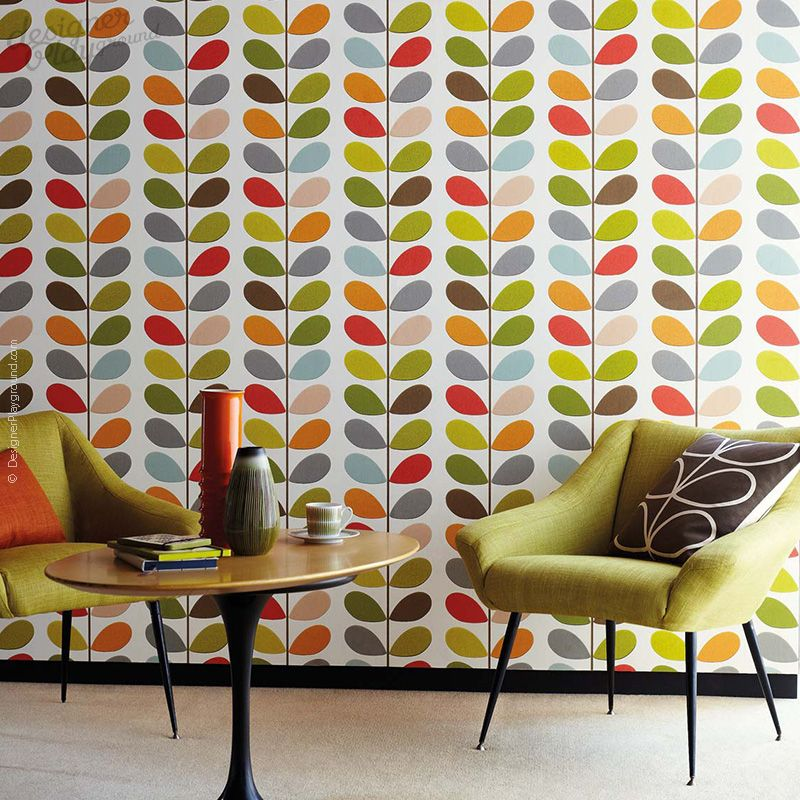 Bedroom Cabinet Designs Curtains Images For Bedroom Latest Bedroom Colour Orla Kiely Wallpaper Bedroom: Multi Color Leaves On Stem Wallpaper