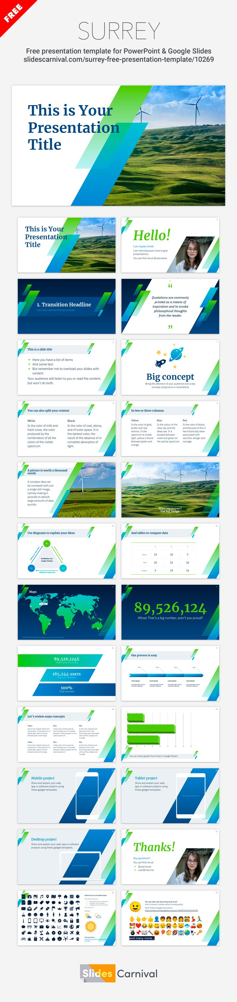 Free Powerpoint Template And Google Slides Theme With Slanted Shapes Presentation Template Free How To Memorize Things Google Slides Themes