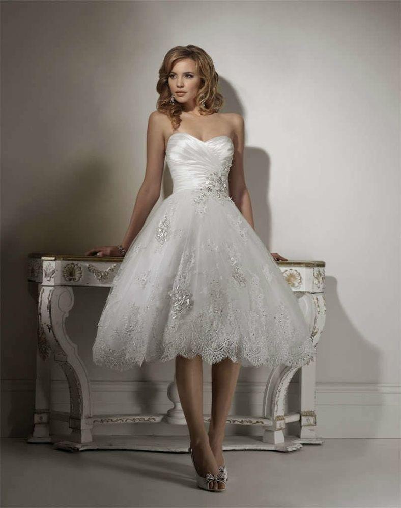 New tea length bridal gown beach wedding dress short summer