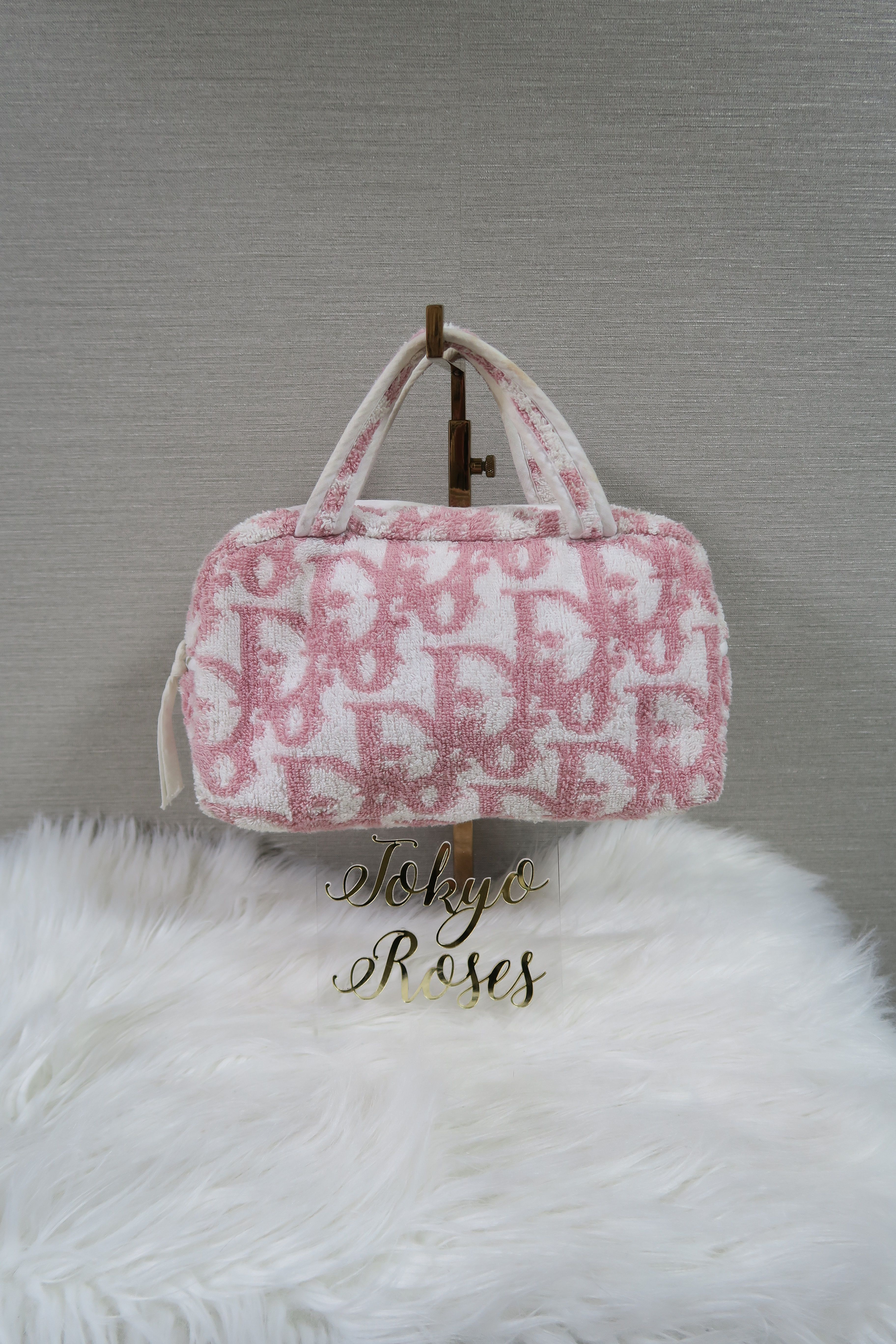 d00fad55a1ab Christian Dior Pink Terry Towel Boston Bag Monogram Trotter Print Handbag