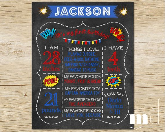 Superhero Chalkboard First Birthday Poster One Year