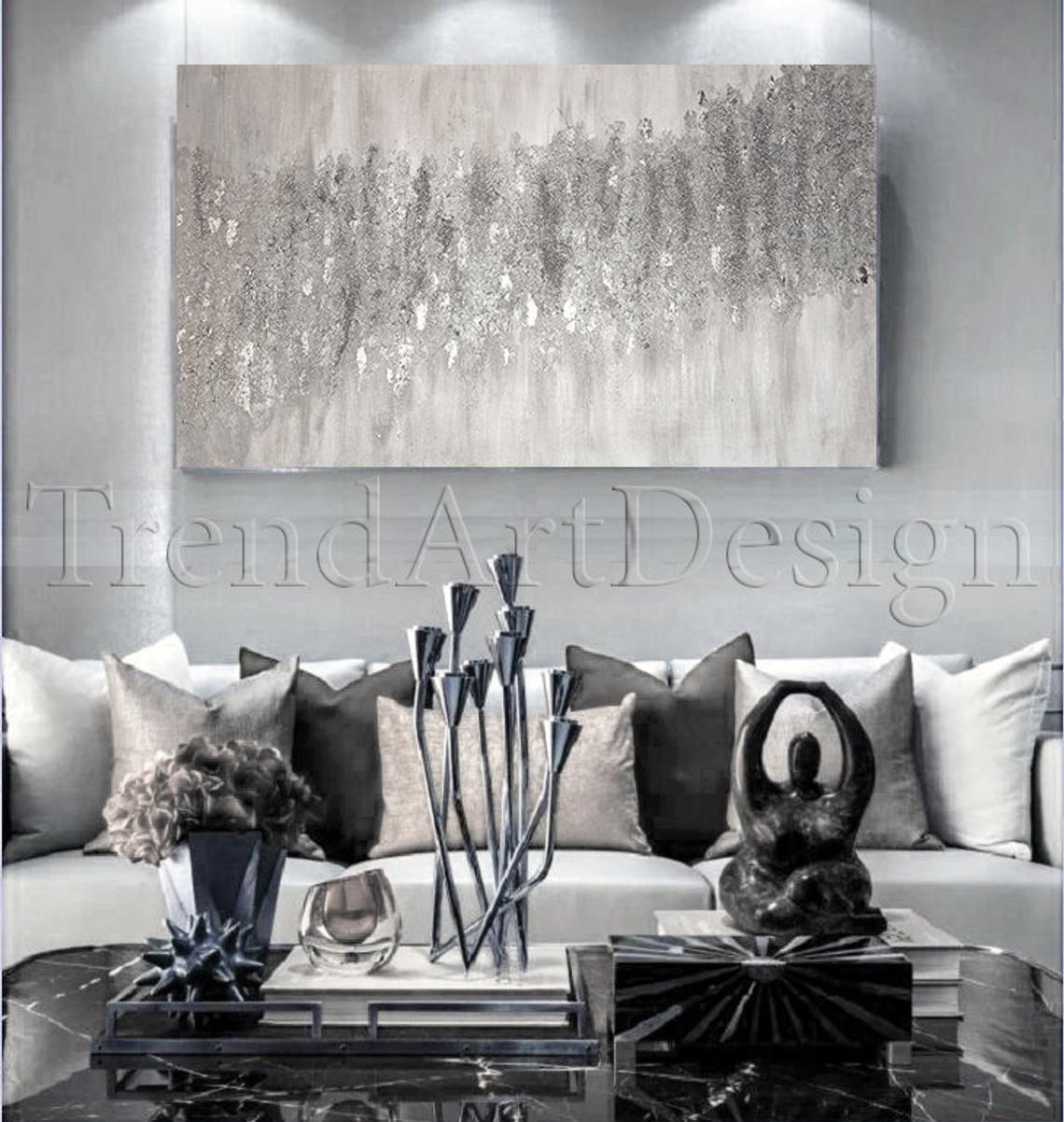 White Grey Wall Art Silver Glitter Art With Silver Leaf Etsy In 2021 Grey Wall Art Glitter Wall Art Silver Wall Decor