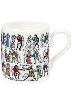 Enjoy lively companions every time you share a cup of tea or coffee with 41 characters from Jane Austen's six cherished novels. All your favorites are here, from Elizabeth and Mr. Darcy in Pride and Prejudice, to Emma and Mr. Knightley in Emma, plus courting couples and social scoundrels from Sense and Sensibility, Mansfield Park, Persuasion and Northanger Abbey. Best of all, Jane Austen stands in the middle of her much-loved literary offspring.