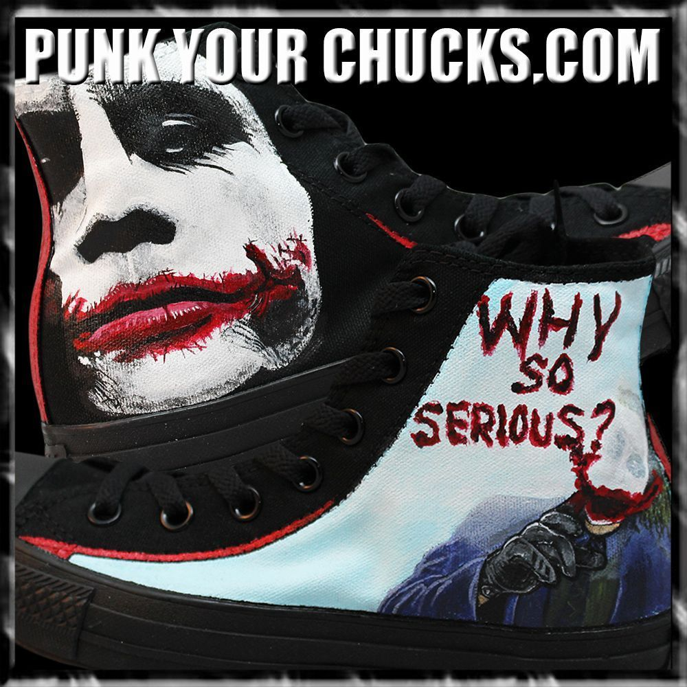 584b85b7dd69 Tis the season to be scary! Batman the Joker handpainted Custom Converse  Sneakers. Why so serious !  batman  thedarkknight  thejoker