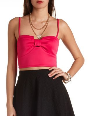sweetheart bow-front crop top