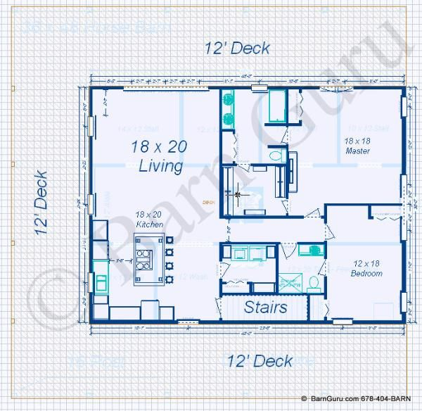 2 bedroom apt horse barn floor plans pinterest horse for Horse barn layouts floor plans