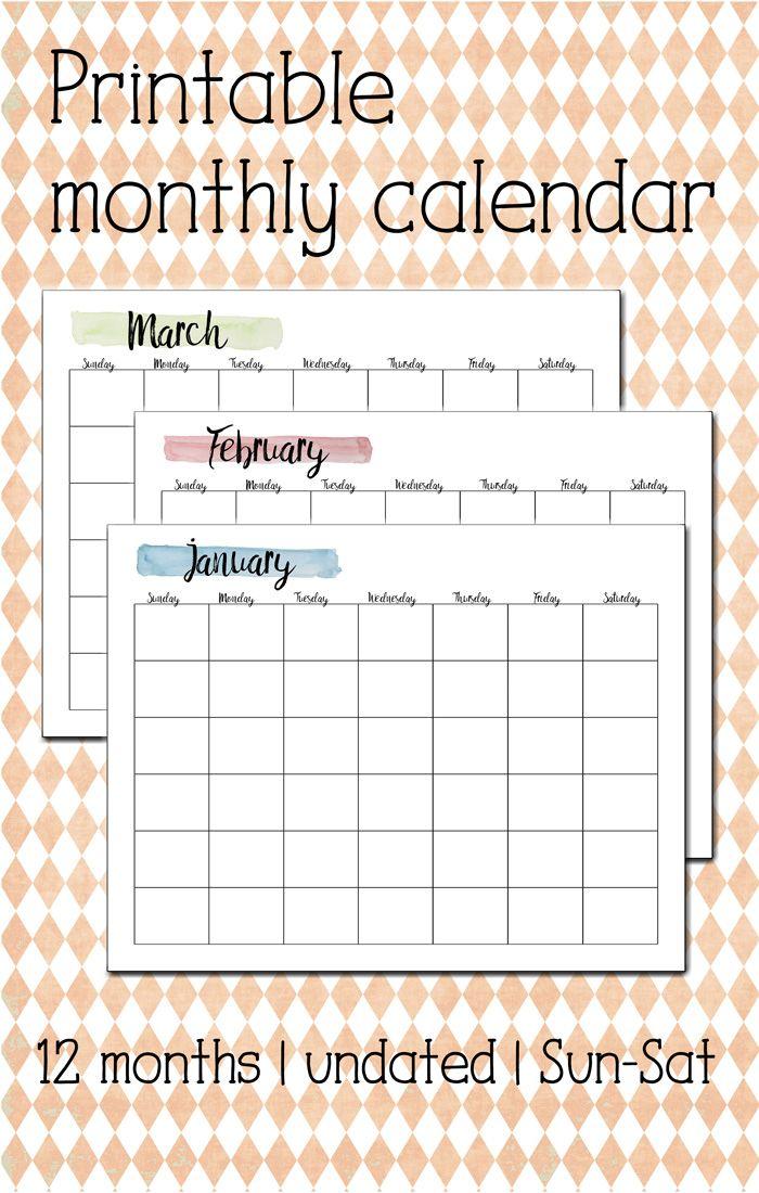 printable 12 month calendar