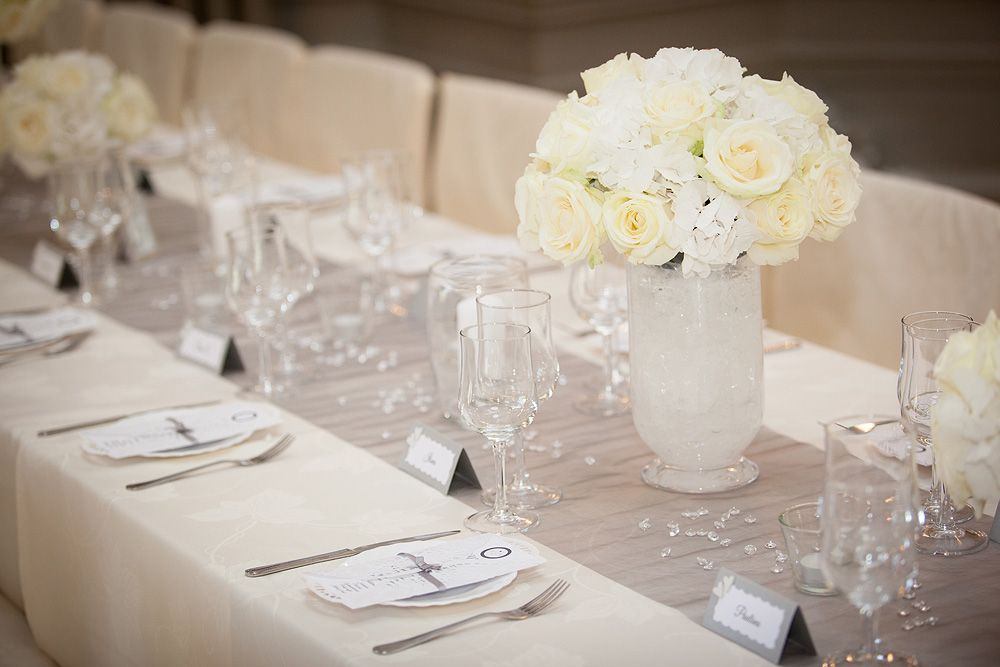 Wedding Decorations White Roses Clear Table Crystals Organza