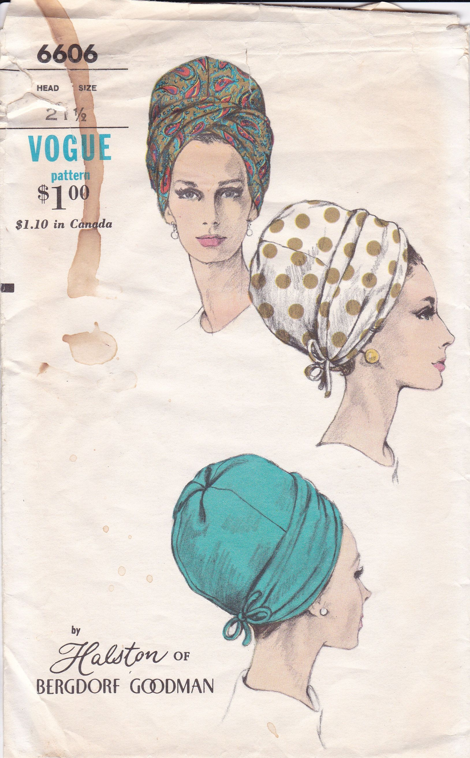 bb5af231025 FREE US SHIP Sewing Pattern Vogue Vintage Vintage Retro 1960s 60s 7153 Mod  Turban Hat Designer Halston of Bergdorf Goodman 21.5 Neatly Cut by  LanetzLiving ...