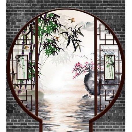 d coration murale style asiatique tapisserie zen jardin traditionnel chinois deco japonaise. Black Bedroom Furniture Sets. Home Design Ideas