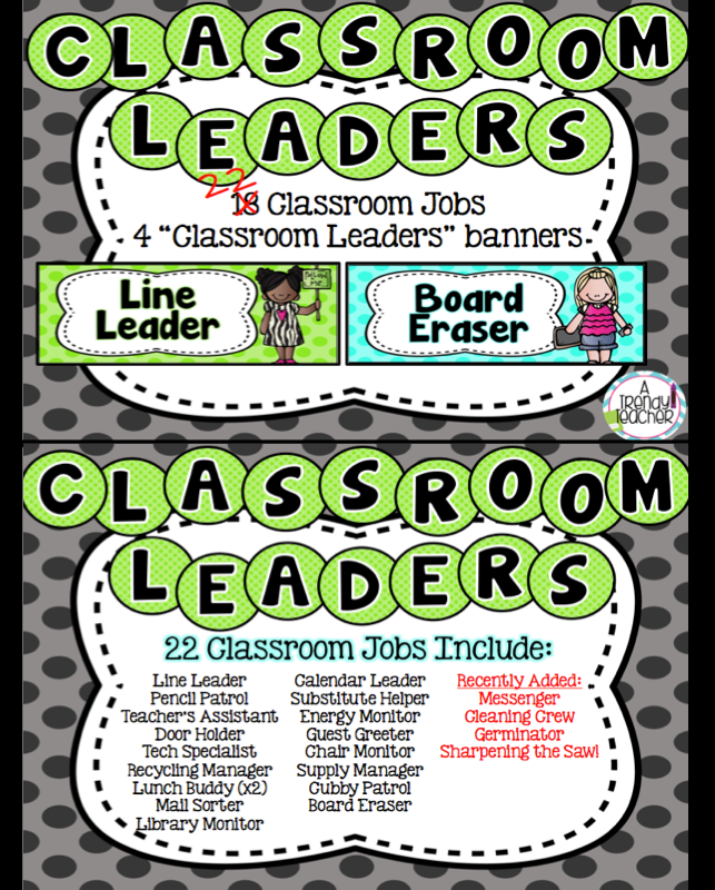 Classroom Jobs [Leadership Roles] Classroom jobs, Leader
