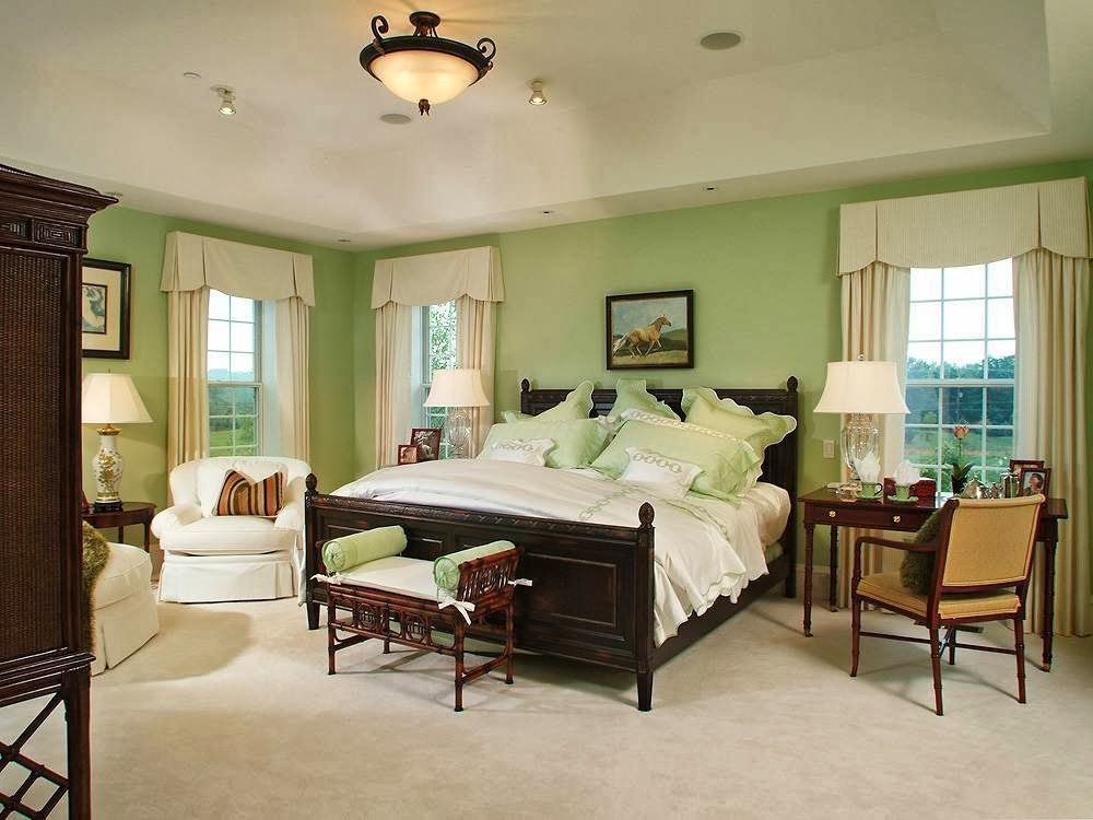 Home design 15 bedroom color schemes with bright color green paint colors for bedrooms with dark Master bedroom with green walls