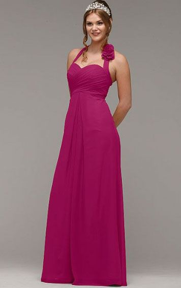 Floor-length Natural Chiffon Halter A-line Bridesmaid Dresses Free Measurement