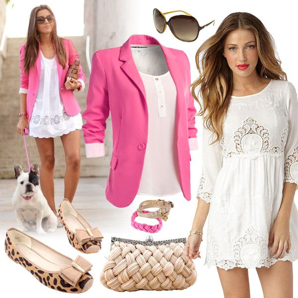 Cute Pink Blazer And White Dress Outfit--way too short but I like ...
