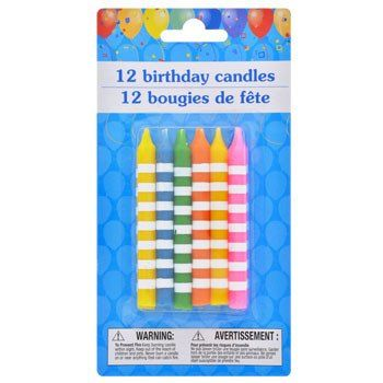 Colorful Striped Birthday Candles 12 Ct Pack