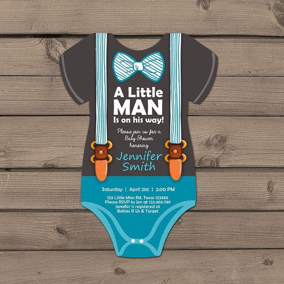 Little Man Baby Shower invite Baby Shower onesie invitation Baby Boy on his way…
