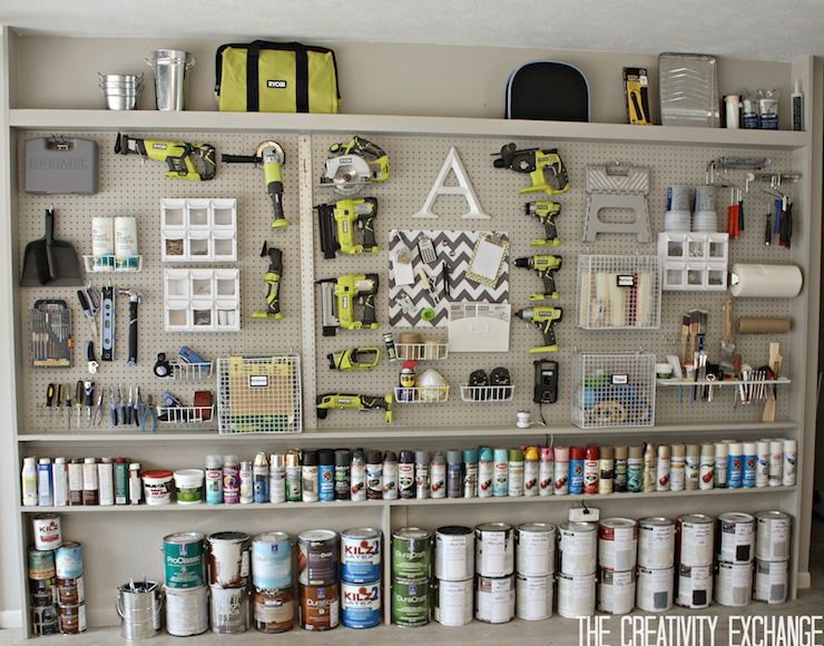 Perfectly Organized Garage Wall With Home Depot Peg Boards And Built In Shelving Holding A Collection Of S Pegboard Storage Pegboard Garage Garage Organization