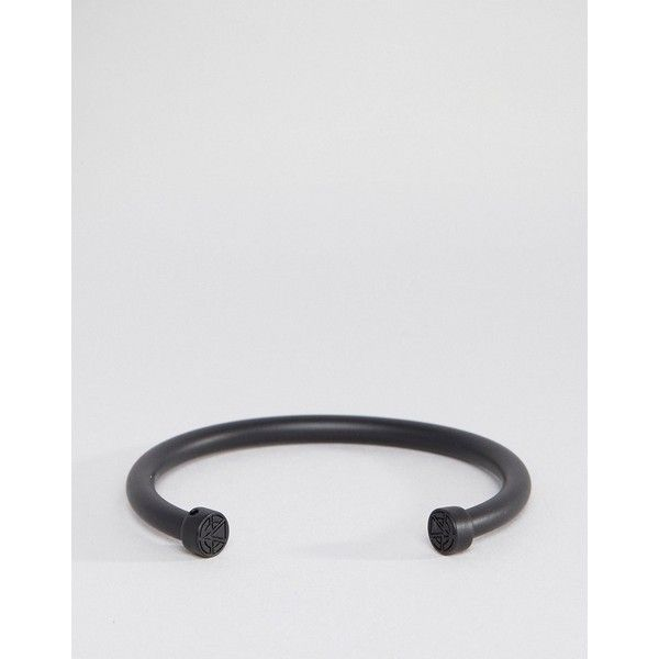 Chained & Able Bar Bangle Bracelet In Matt Black (€30) ❤ liked on Polyvore featuring men's fashion, men's jewelry, men's bracelets, black and mens engraved bracelets