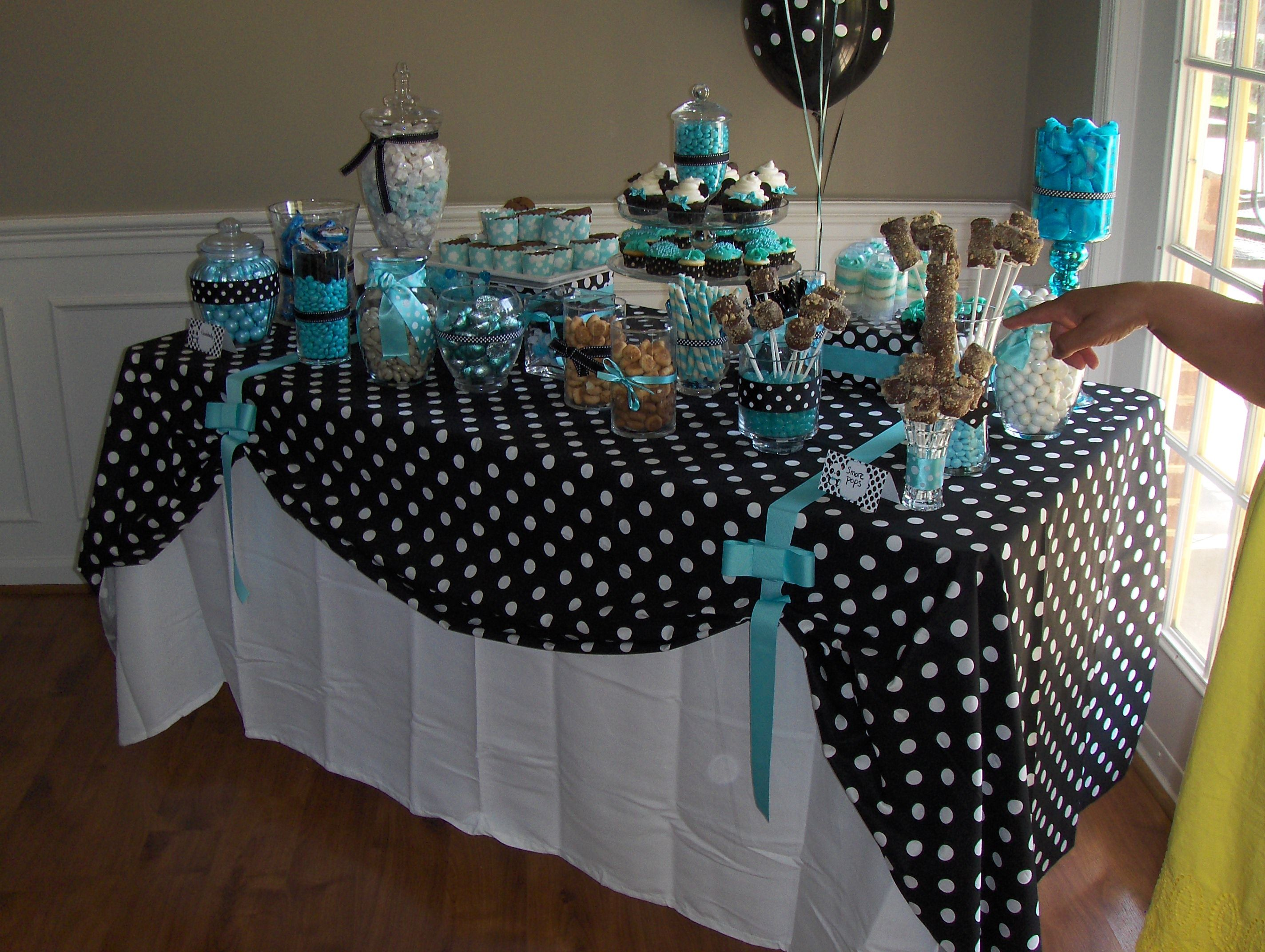 Tiffany blue and polka dot candy buffet From Michele s baby