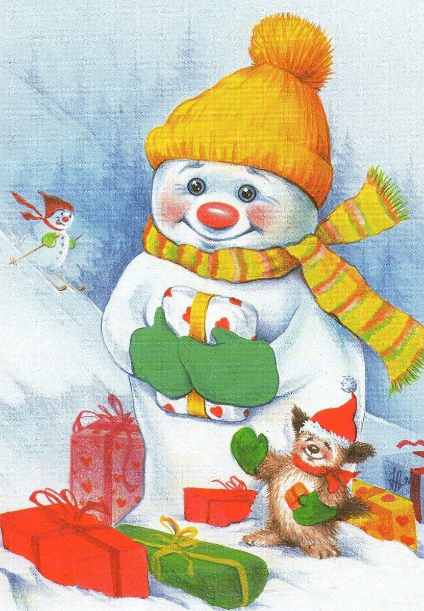 открытка с изображением снеговика его приходилось наблюдать