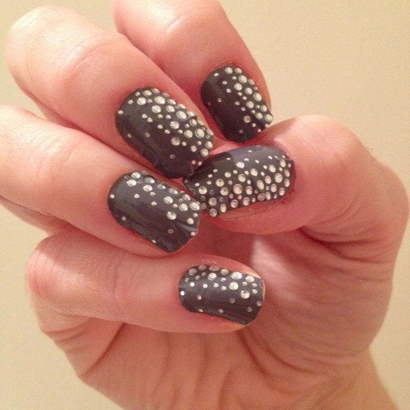 Nail Art Gallery - Essie nail strips: grey with diamond-style gems ...