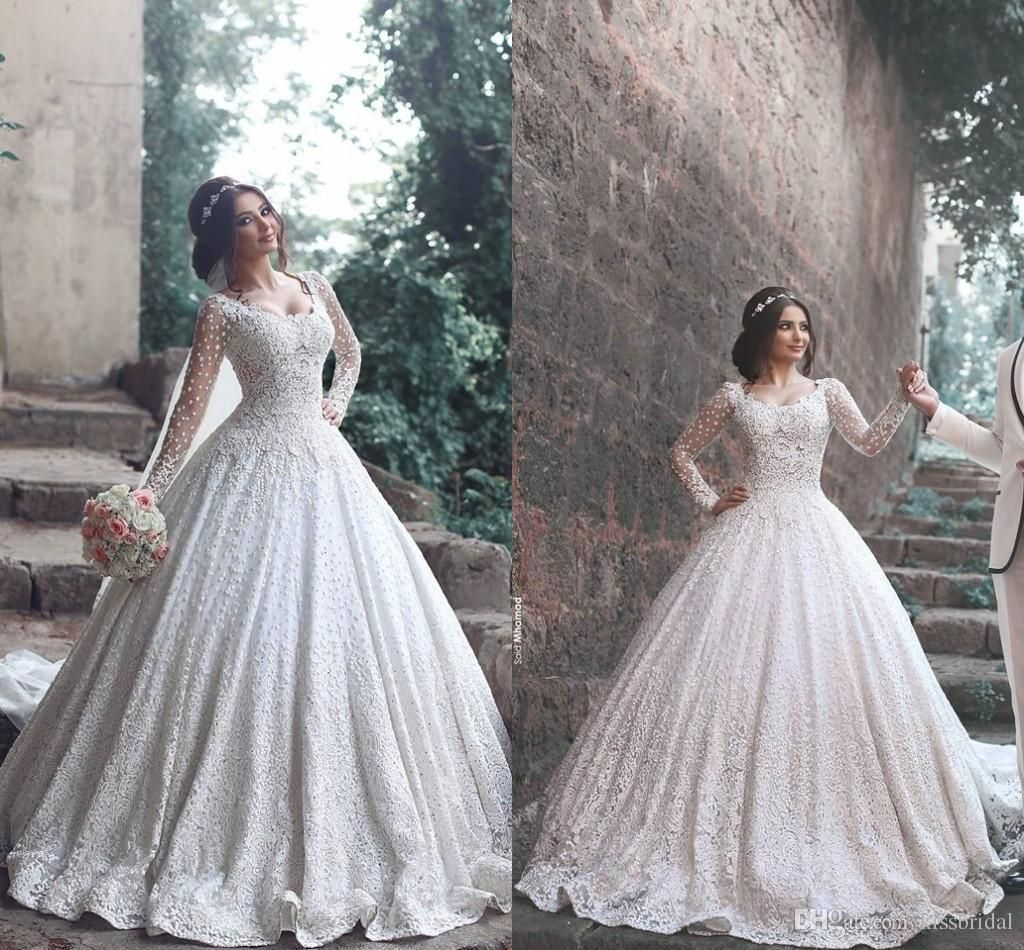 Cheap 2017 Ball Gowns Arabic Wedding Dresses Applique Beaded Lace ...