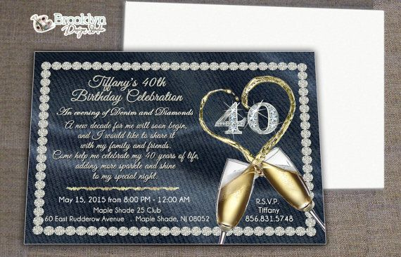 This is a custom party invitation in a elegant denim and diamonds - invitation wording for mystery party