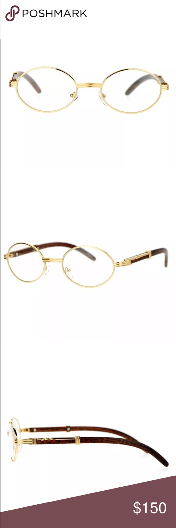 449d62613a1 Gold Frame Vintage Migos Style Clear Oval Glasses Composite frame ...