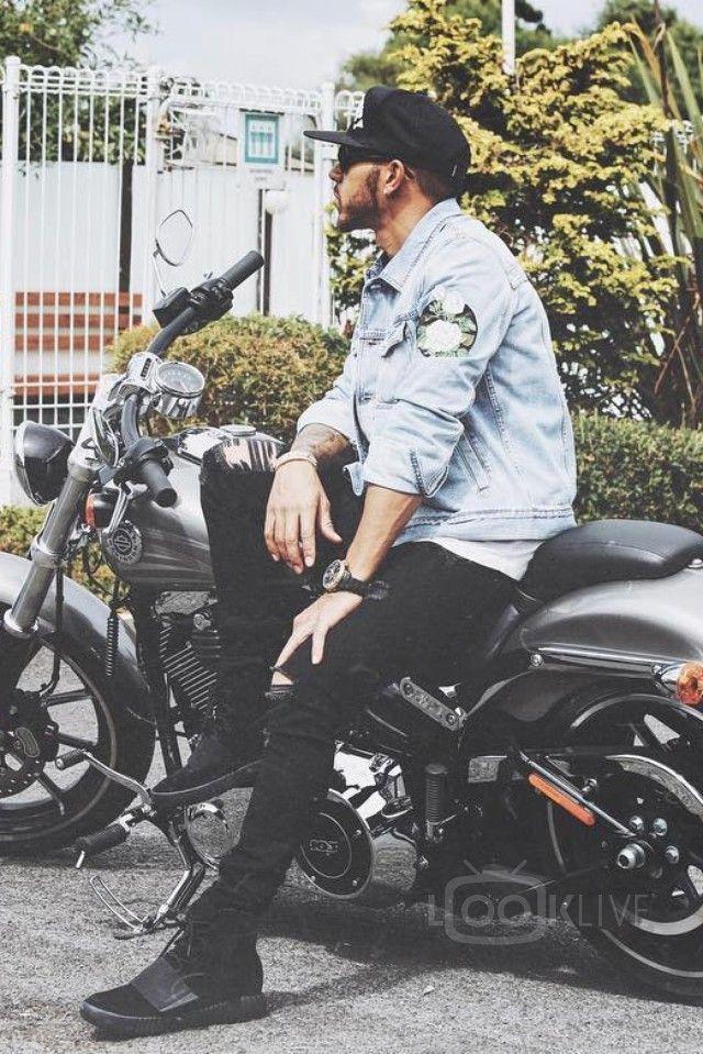 43ec9ebe931 Lewis Hamilton - Posing on a Harley Davidson motorcycle on ...