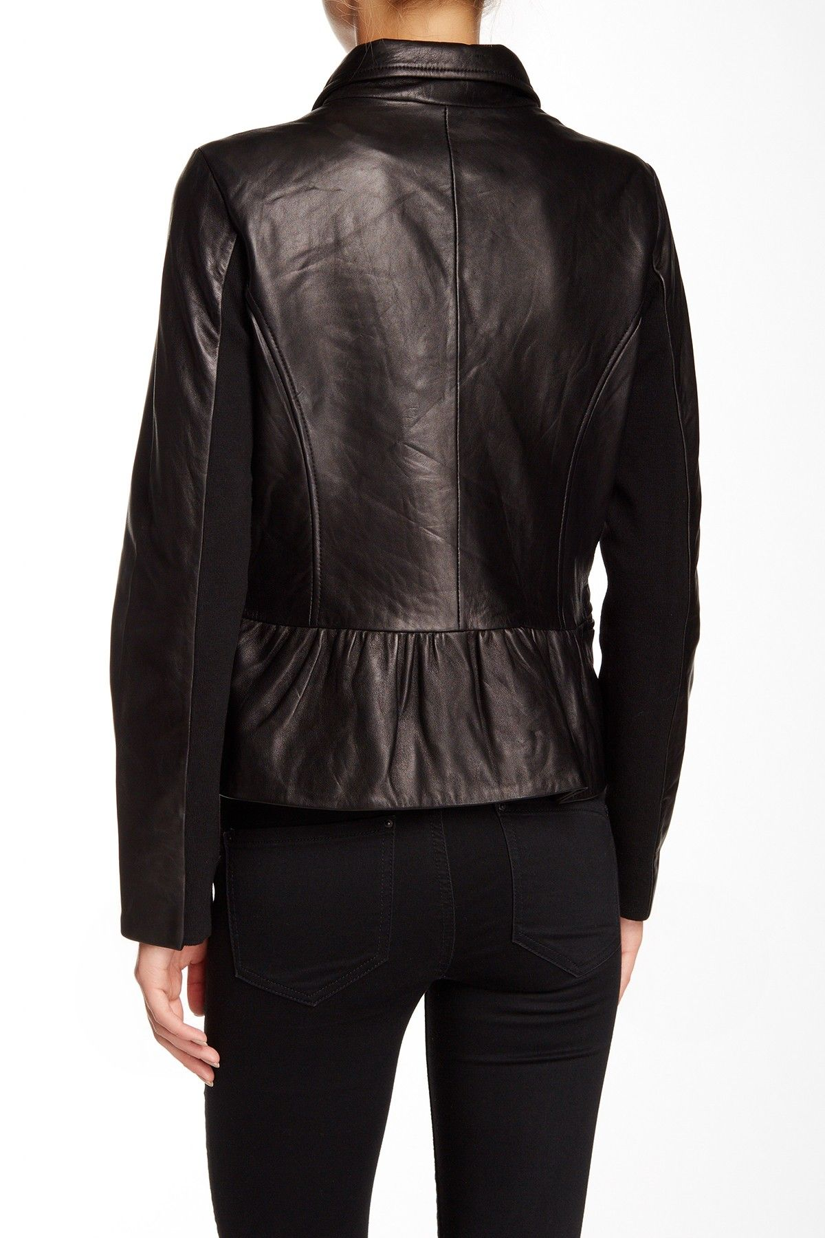 Colette Moto Leather Jacket With Peplum Leather Jacket Jackets Leather Moto Jacket [ 1800 x 1200 Pixel ]
