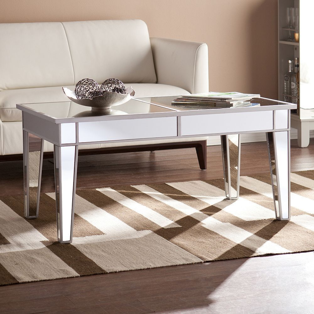 Living room furniture new mulvaney mirrored coffee table silver
