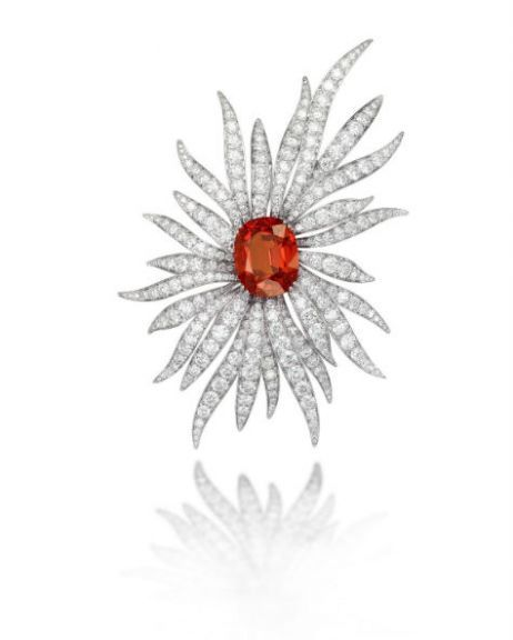 Jewelries at Baselworld 2015 | BLOUIN ARTINFO-The spessartite flower brooch by Picchiotti.