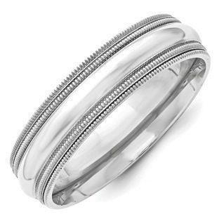 6mm Double Milgrain Edge Comfort Fit Wedding Band In 10k White Gold Milgrain Wedding Bands Mens Gold Wedding Band Wedding Ring Bands