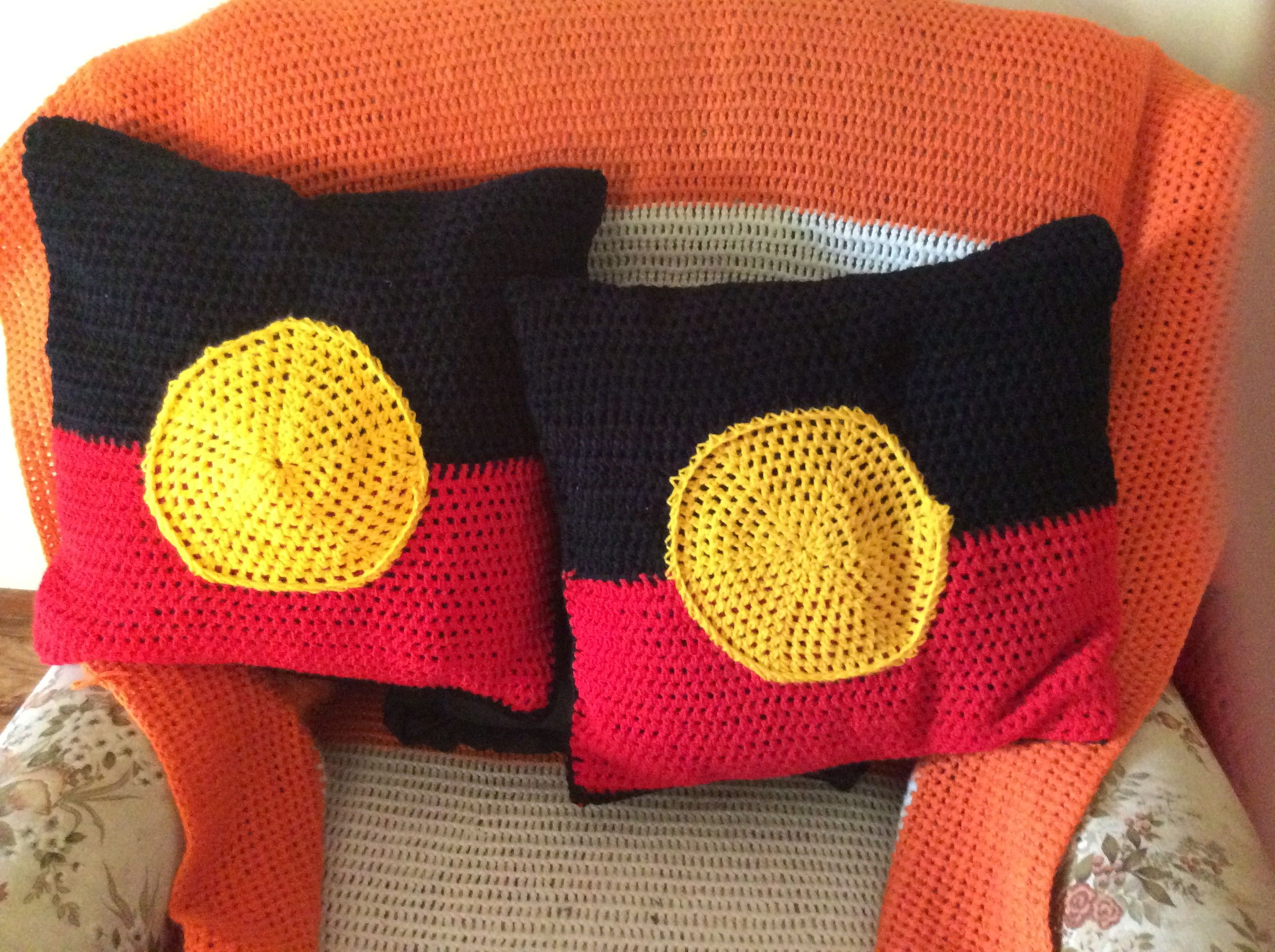 Aboriginal Flag Cushion Set Crochet