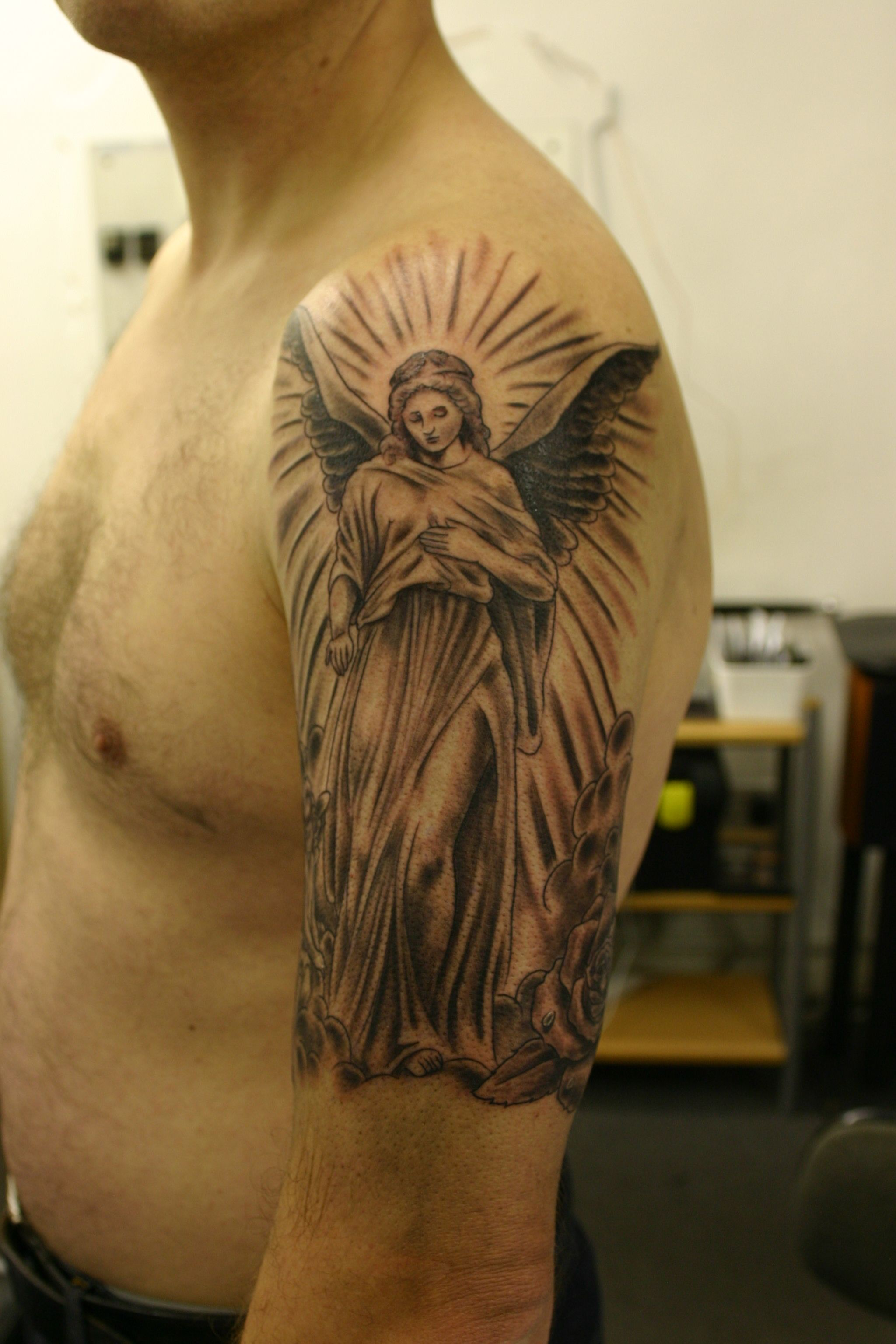 Black and grey tattos angels tattoo angel black gray arm for Tattoos in arm