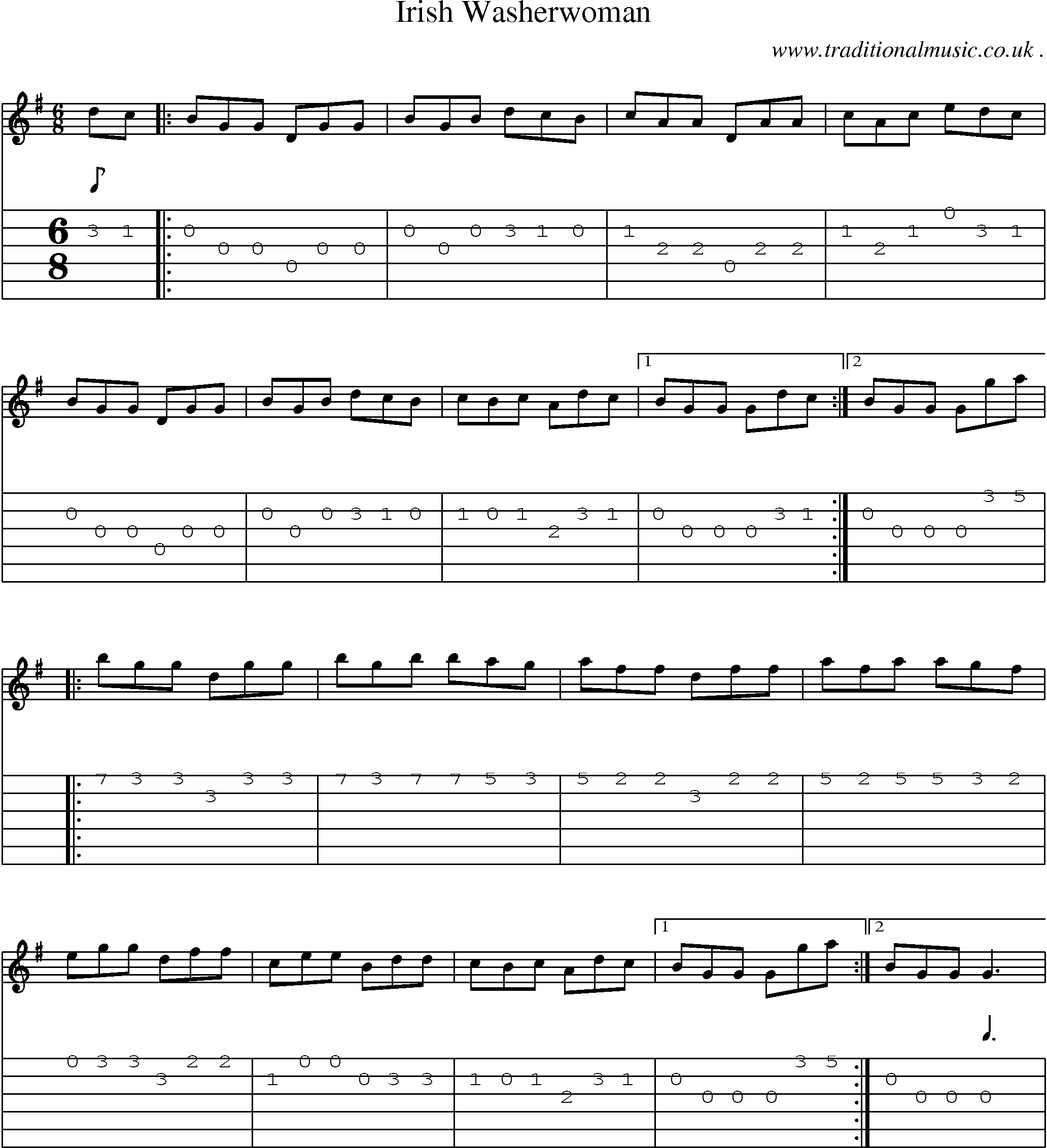 Guitar Chords And Lyrics For Beginners Irish Songs: Music Score And Guitar Tabs For Irish Washerwoman