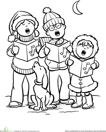 Color the Carolers Printable christmas coloring pages