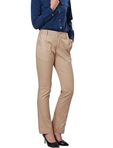 Allegra K Women Mid Rise Belt Loop Zip Fly Front Pockets Straight Pants Khaki XS - http://best-women-shop.xyz/2016/07/05/allegra-k-women-mid-rise-belt-loop-zip-fly-front-pockets-straight-pants-khaki-xs/