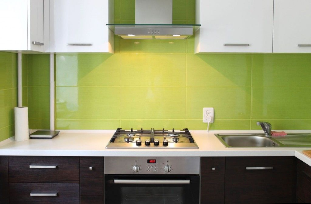 Black White With Lime Green Backsplash