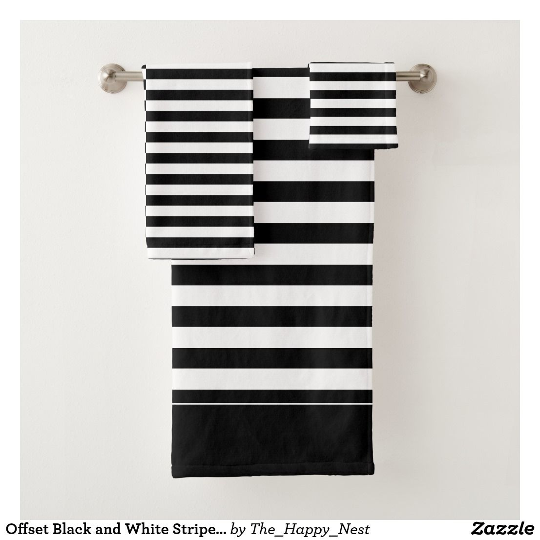 Offset Black And White Striped Bath Towel Set Zazzle Com Patterned Bath Towels Black And White Towels White Bathroom Accessories