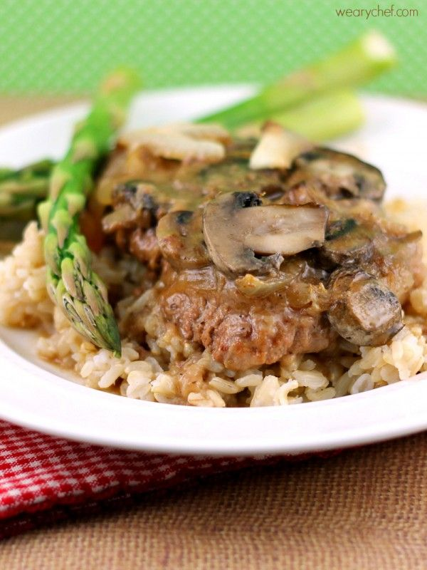 Fork Tender Cube Steaks in Mushroom Gravy #beef #dinner